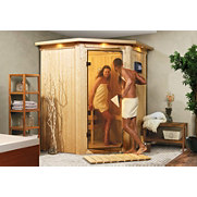 Set: Ecksauna &raquo;Firnja&laquo; mit 3,6 kW Bi-O Kombiofen, 68 mm Wandst&auml;rke