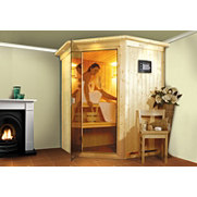 Set: Ecksauna &raquo;Nanja&laquo; mit 3,6 kW Bi-O Kombiofen, 68 mm Wandst&auml;rke