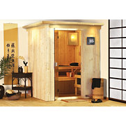 Set: Sauna &raquo;Minja&laquo; mit 3,6 kW Ofen, 68 mm Wandst&auml;rke