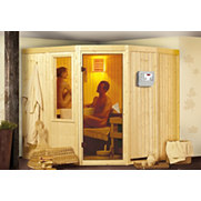 Spar-Set: Systemsauna &raquo;Simara 1&laquo; und Ofen, 68 mm Wandst&auml;rke