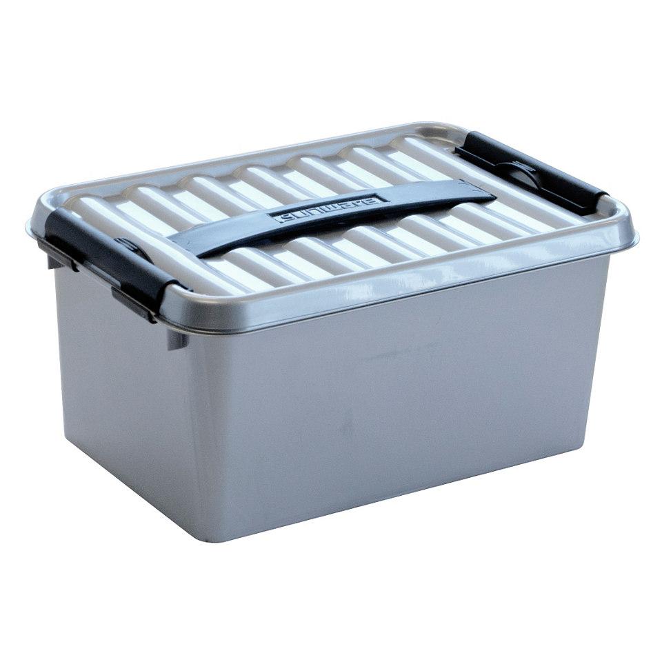 Aufbewahrungsboxen in silber, 6 x 6 Liter
