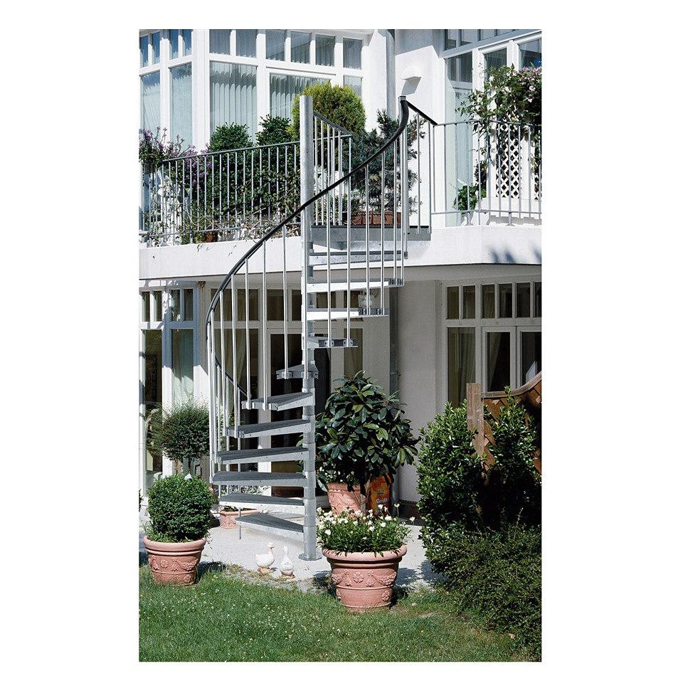 Außentreppe »Gardenspin«, mit Trimaxstufen, linkslaufend