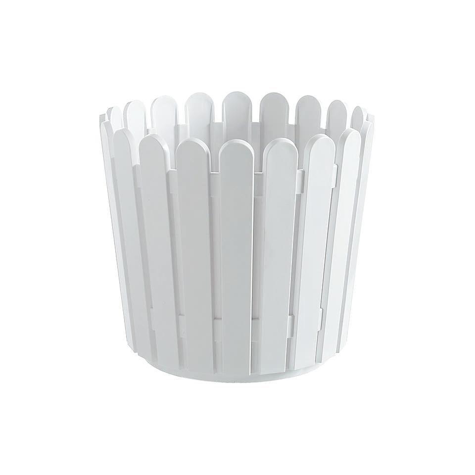 Blumenkübel »Landhaus« in weiß, rund (ø): 30 cm