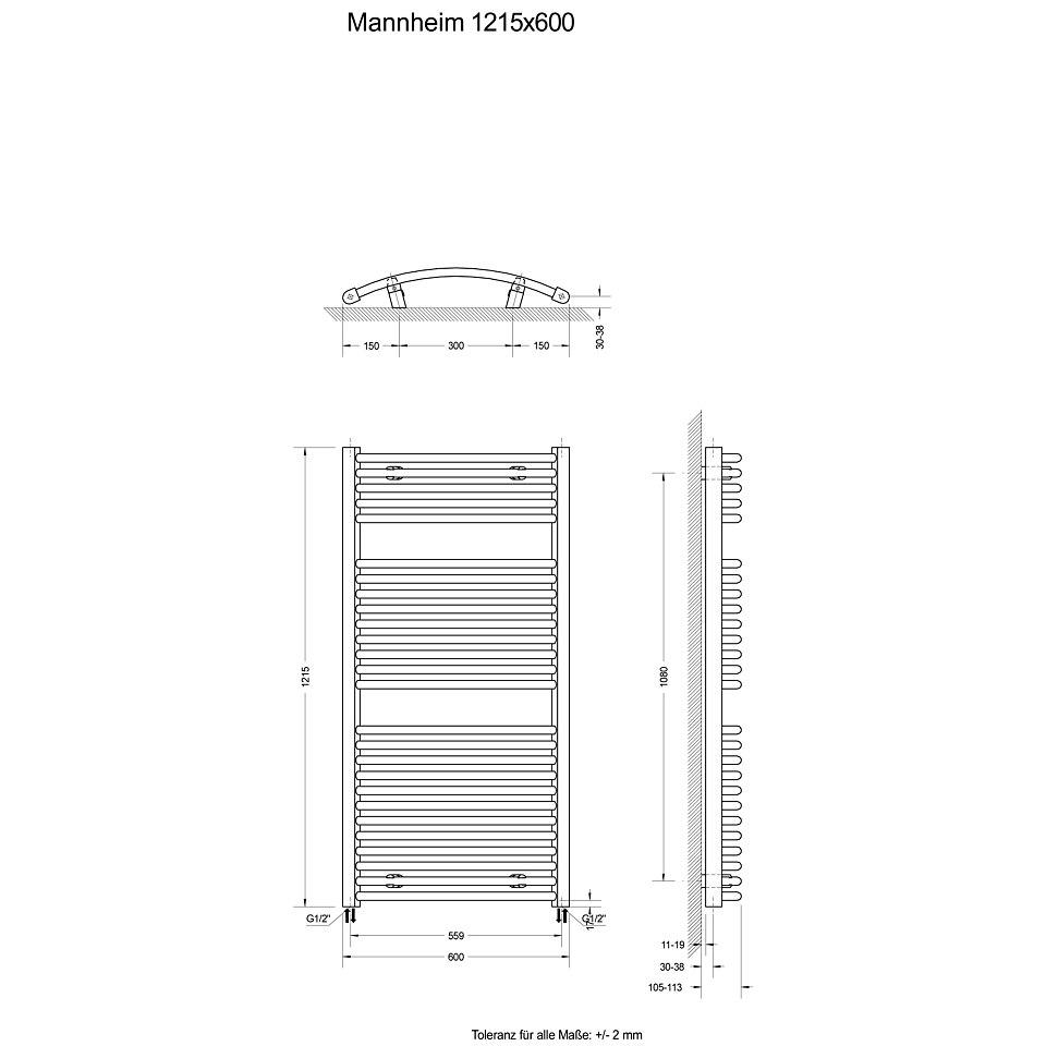 Design-Heizk�rper �Mannheim�, Anschlu� Stromanschlu�