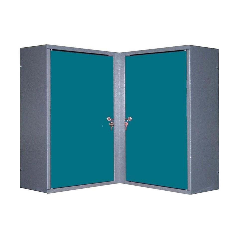 Eck-Hängeschrank »2 Türen, 4 Einlegeböden, in hammerschlagblau«