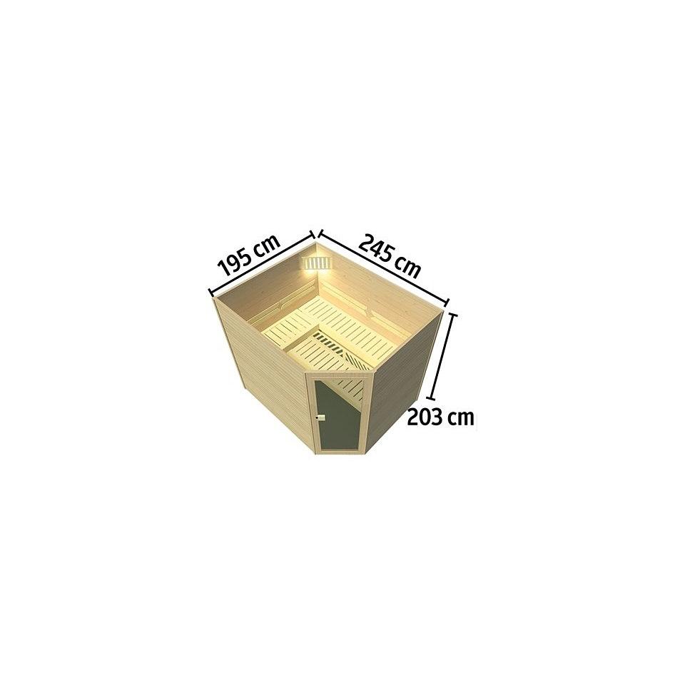 Ecksauna »Cubilis 2«, 45 mm Wandstärke