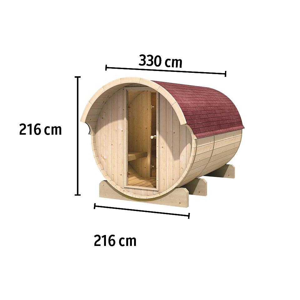 Fasssauna »Pontus 3« mit 9 kW Ofen, 42 mm Wandstärke