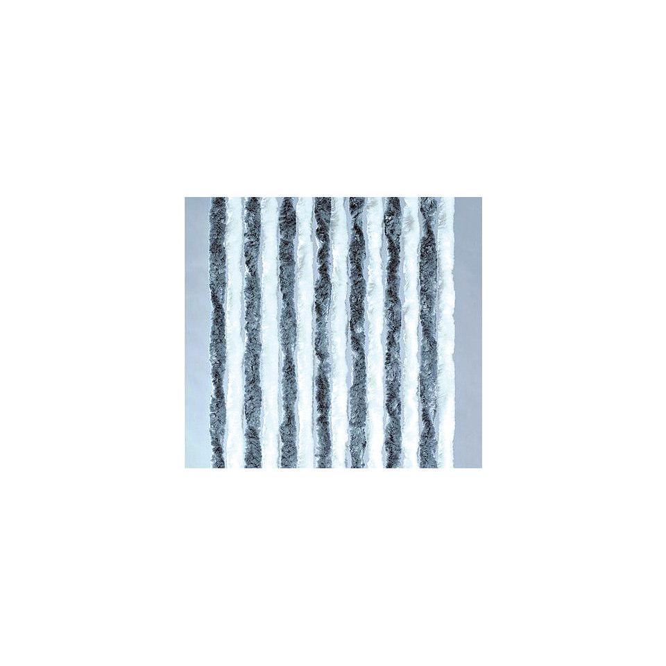 Flauschvorhang in silberfarben-wei�