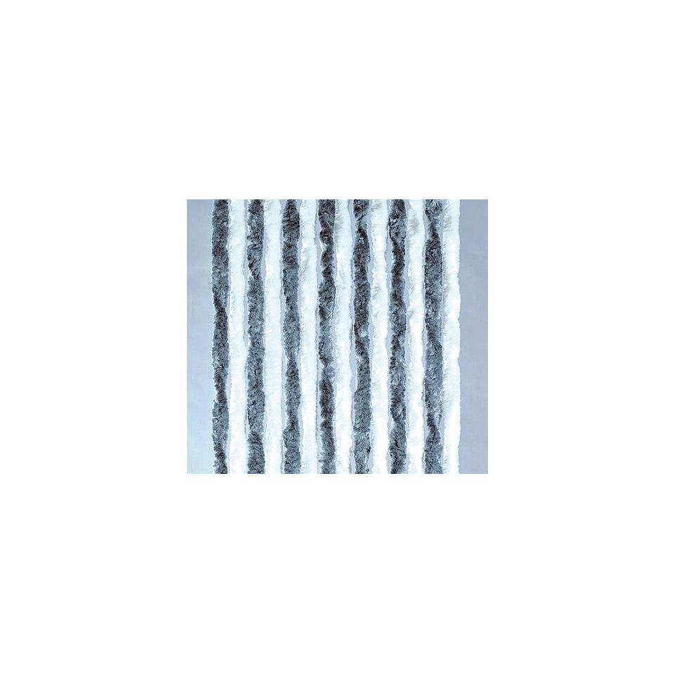 Flauschvorhang in silberfarben-weiß