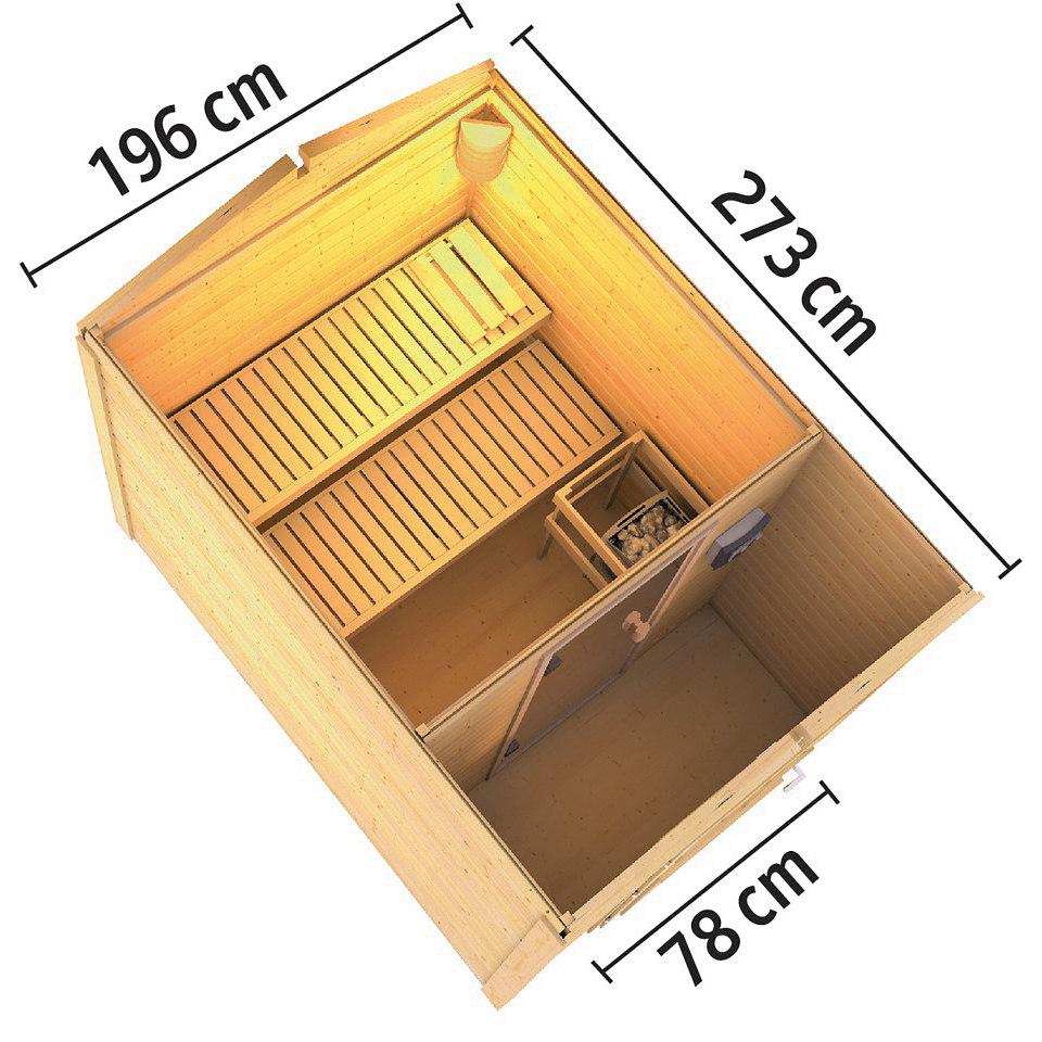 Frontsaunahaus »Bennet« inkusive Vorraum, 9 kW Bio-Ofen, 38 mm Wandstärke