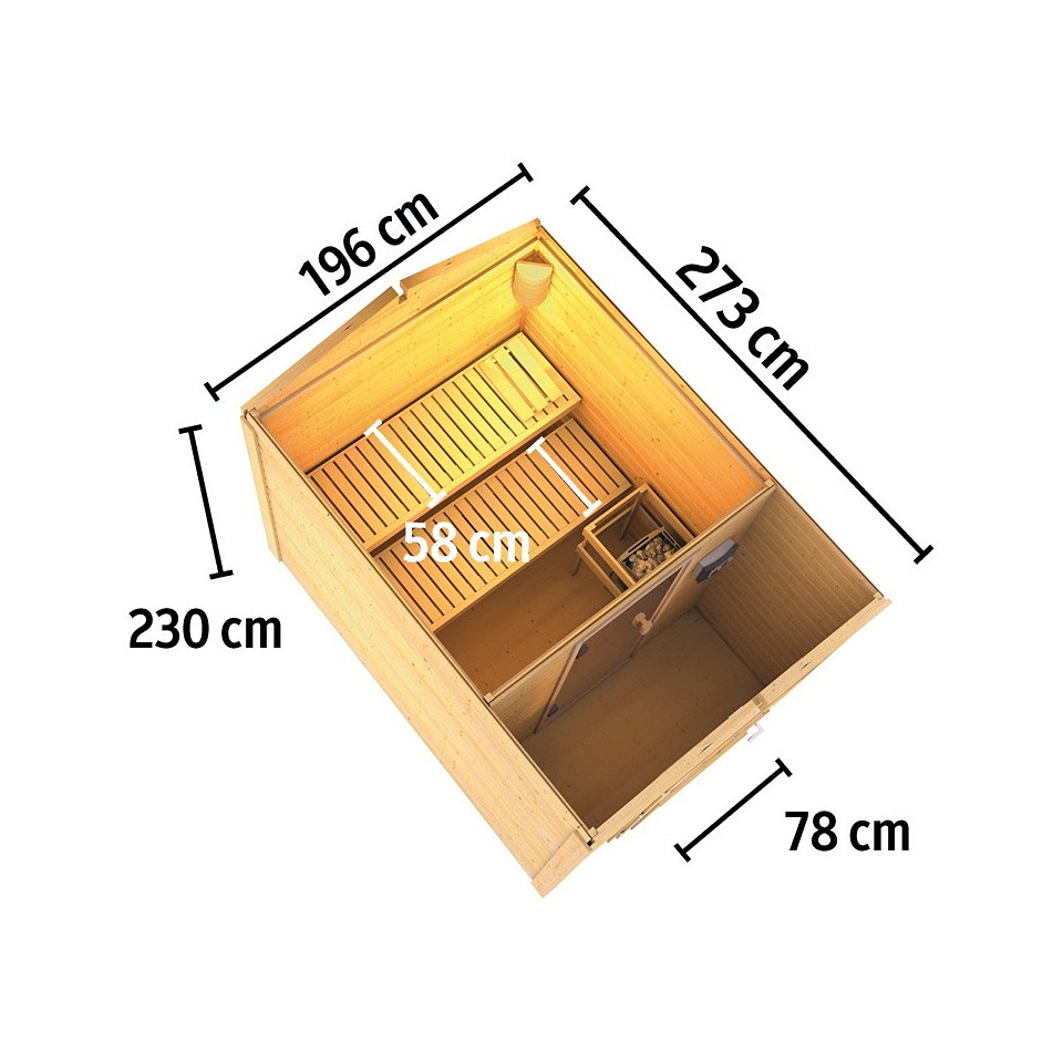Frontsaunahaus »Bennet« inkusive Vorraum, 9 kW Ofen, 38 mm Wandstärke