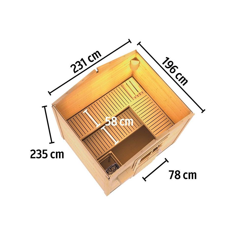 Frontsaunahaus »Sönke«, 9 kW Ofen, 38 mm Wandstärke