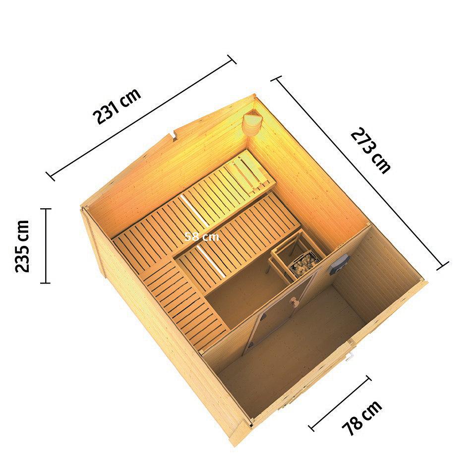 Frontsaunahaus �S�nke� inkusive Vorraum, 8 kW Ofen, 38 mm Wandst�rke