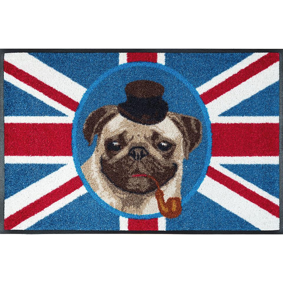 Fu�matte, wash+dry by Kleen-Tex, �British Pug�, rutschhemmend beschichtet