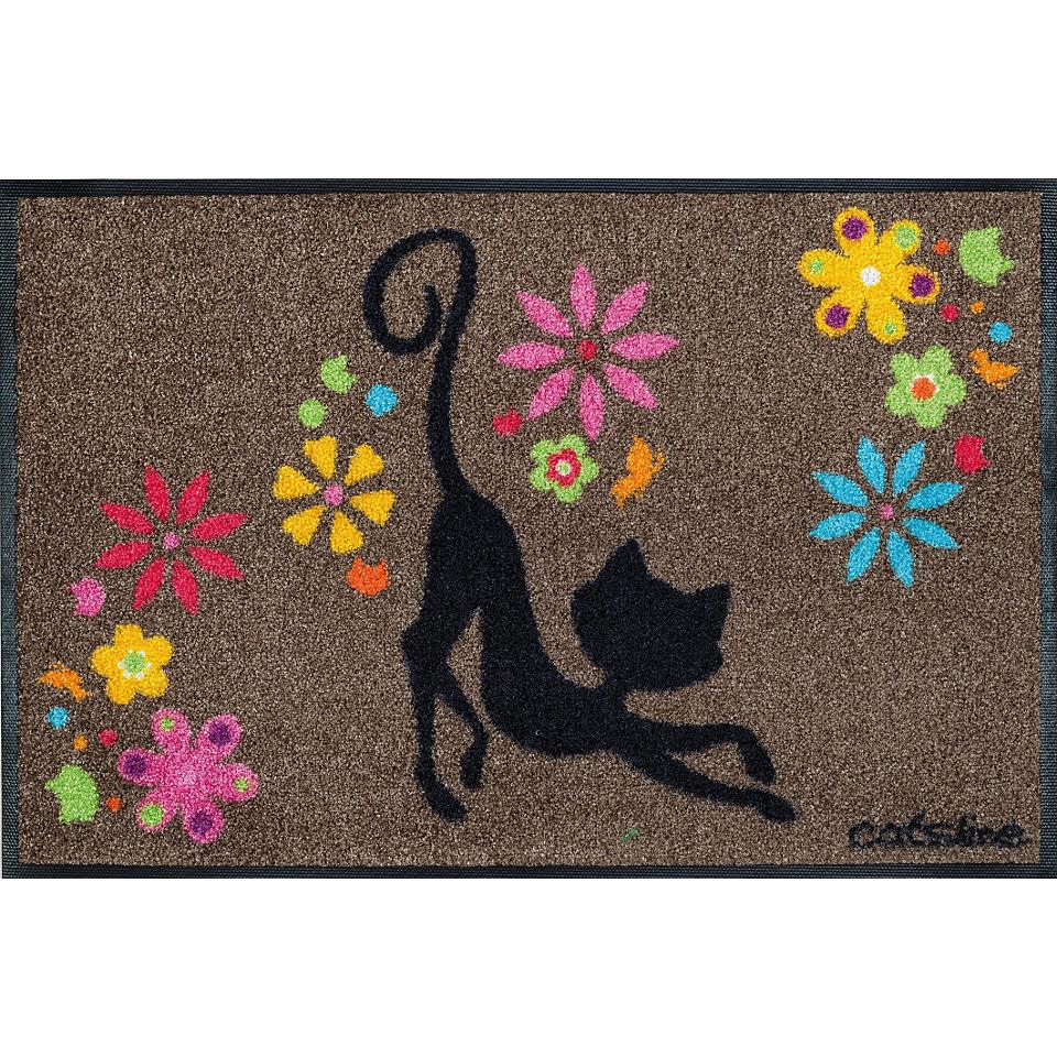 Fu�matte, wash+dry by Kleen-Tex, �Catsline Black Flowers�, rutschhemmend beschichtet