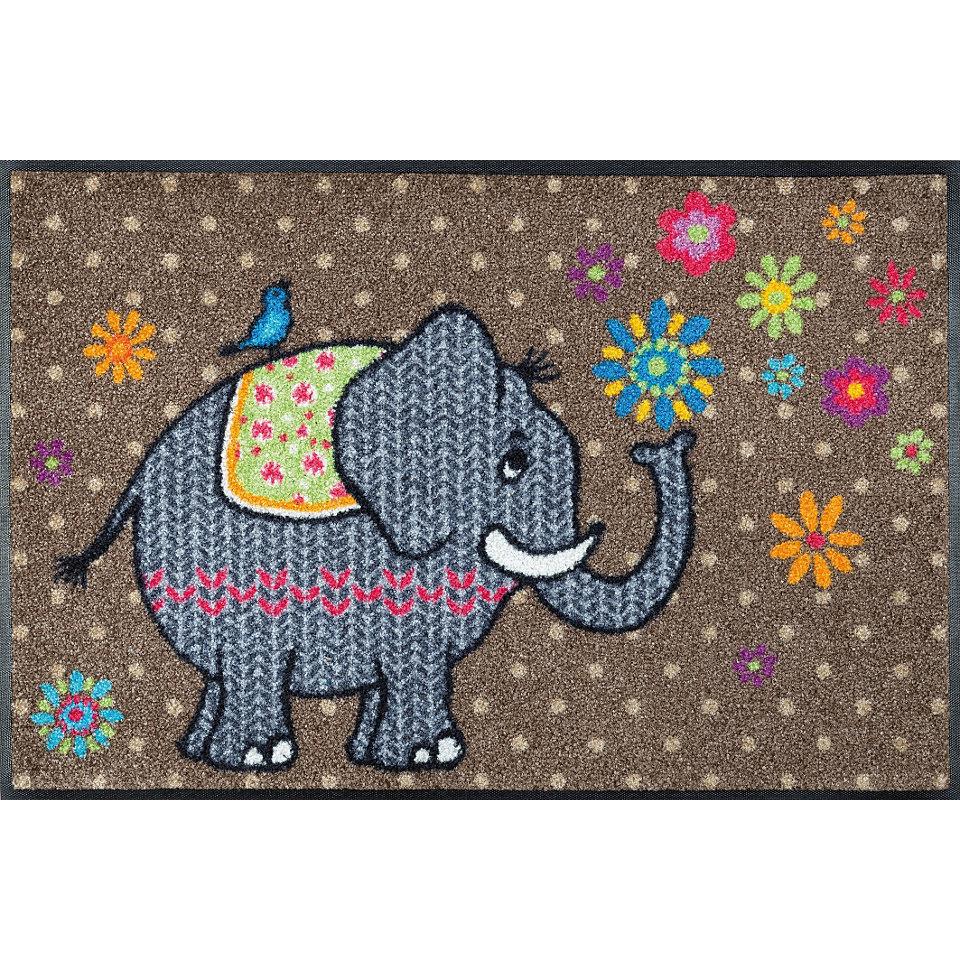 Fu�matte, wash+dry by Kleen-Tex, �Flower Elephant�, rutschhemmend beschichtet