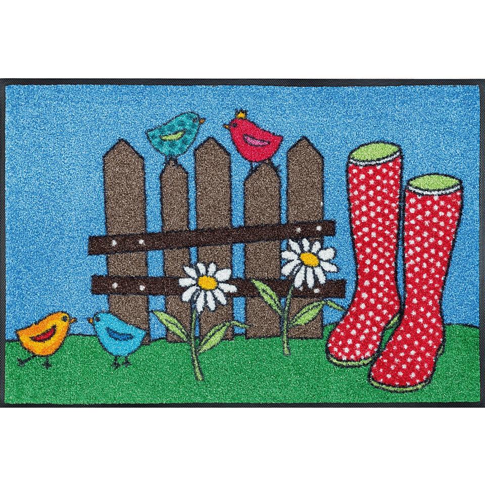 Fußmatte, wash+dry by Kleen-Tex, »Happy Boots«, rutschhemmend beschichtet