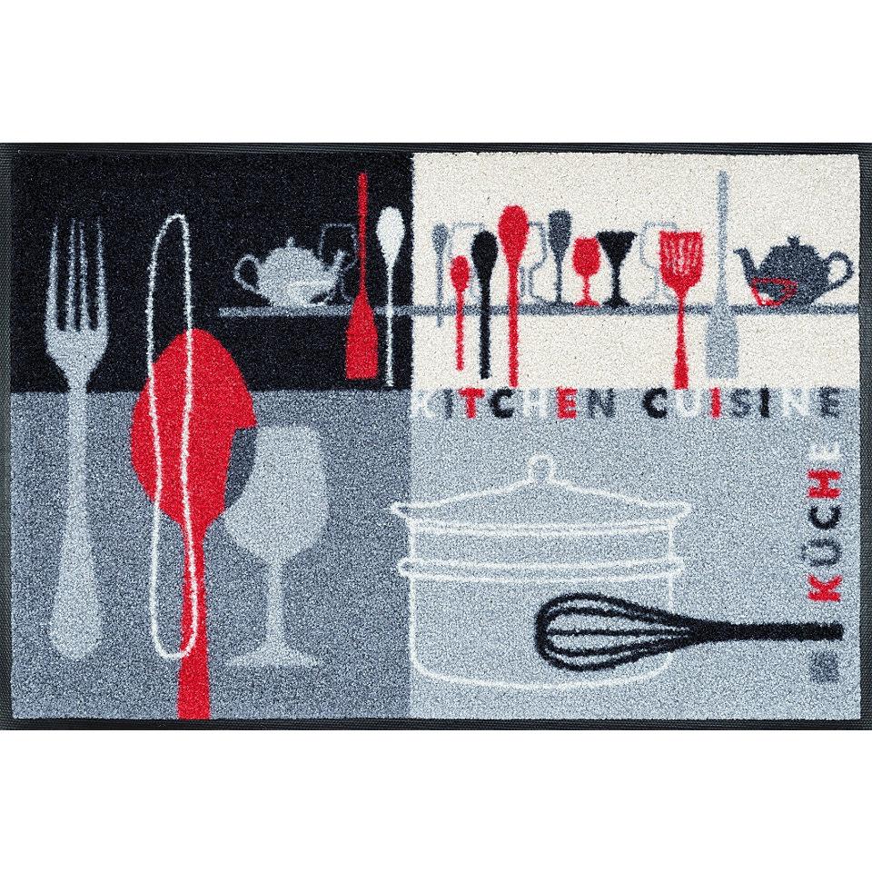 Fußmatte, wash+dry by Kleen-Tex, »Kitchen Crockery«, rutschhemmend beschichtet