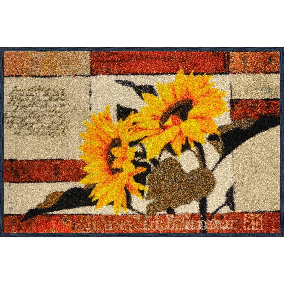 Fu�matte, wash+dry by Kleen-Tex, �Rhapsody of Sunflowers�, rutschhemmend beschichtet