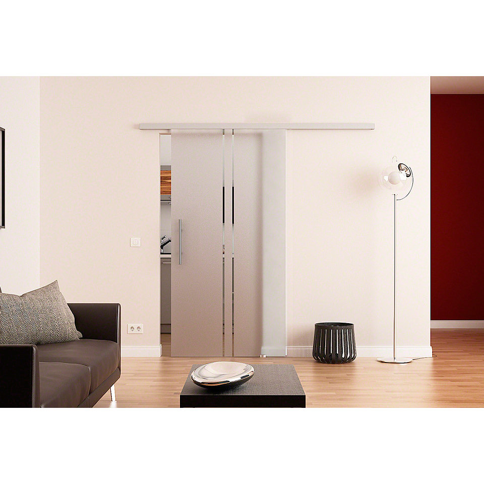 Glasschiebet�r �Dorma�, 2-Streifen-Vertikal-Dekor