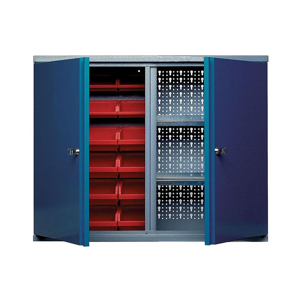 Hängeschrank »2 Türen, 2 Einlegeböden, 18 Sichtboxen, in hammerschlagblau«