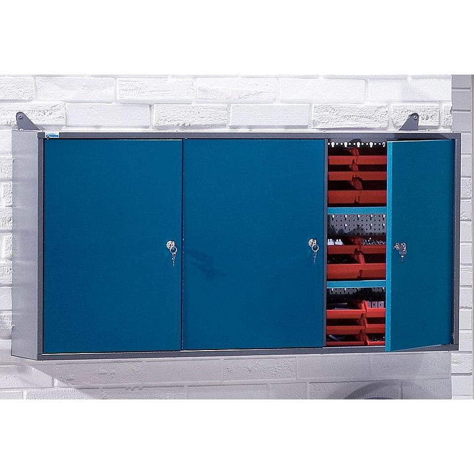 Hängeschrank »3 Türen, 2 Einlegeböden, 18 Sichtboxen, in hammerschlagblau«