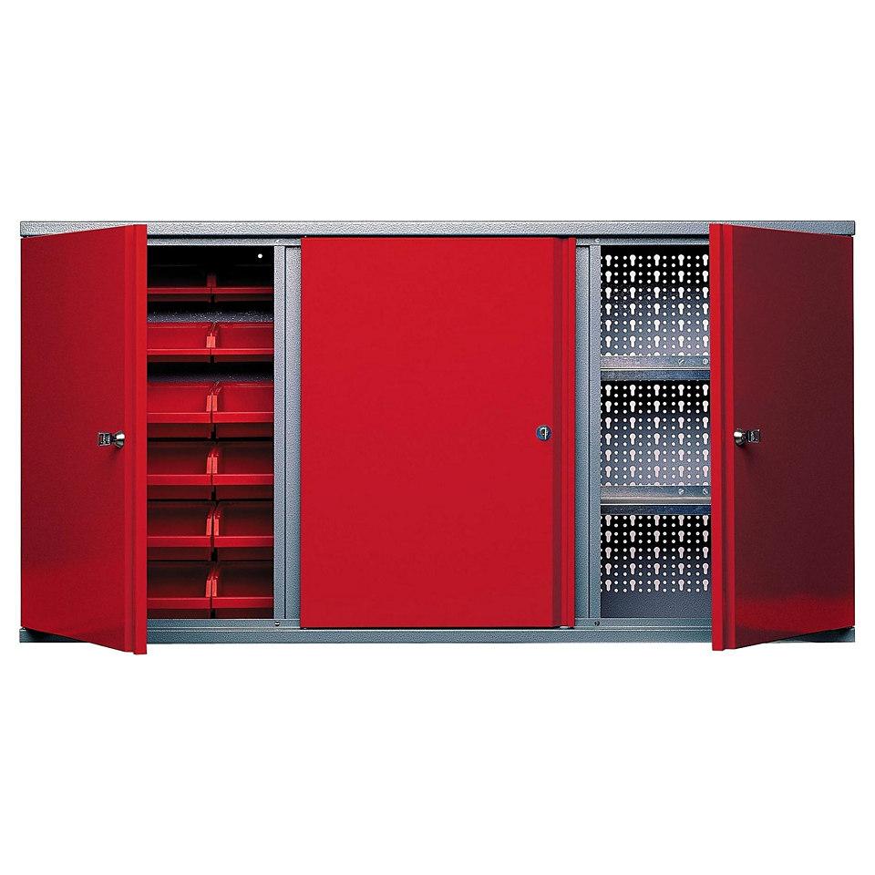 Hängeschrank »3 Türen, 2 Einlegeböden, 18 Sichtboxen, in rot«