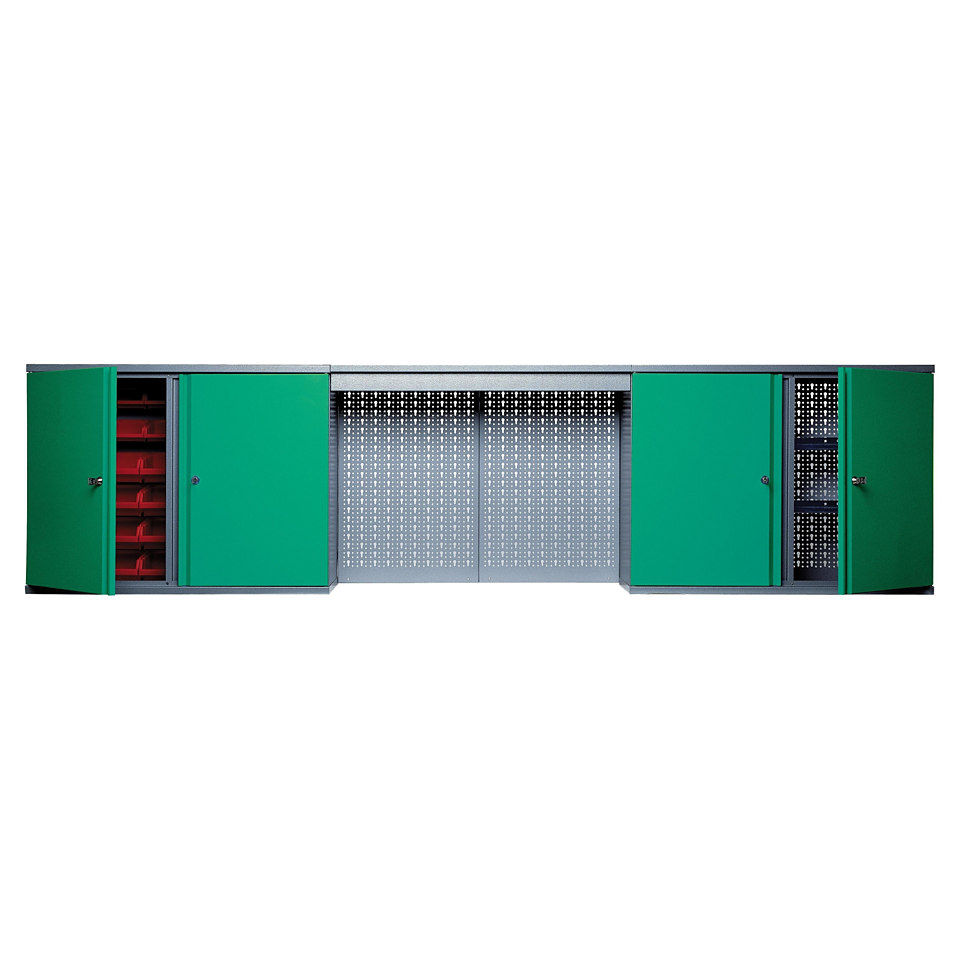 Hängeschrank »mit Lichtblende, 4 Türen, 4 Einlegeböden, 36 Sichtboxen, in grün«