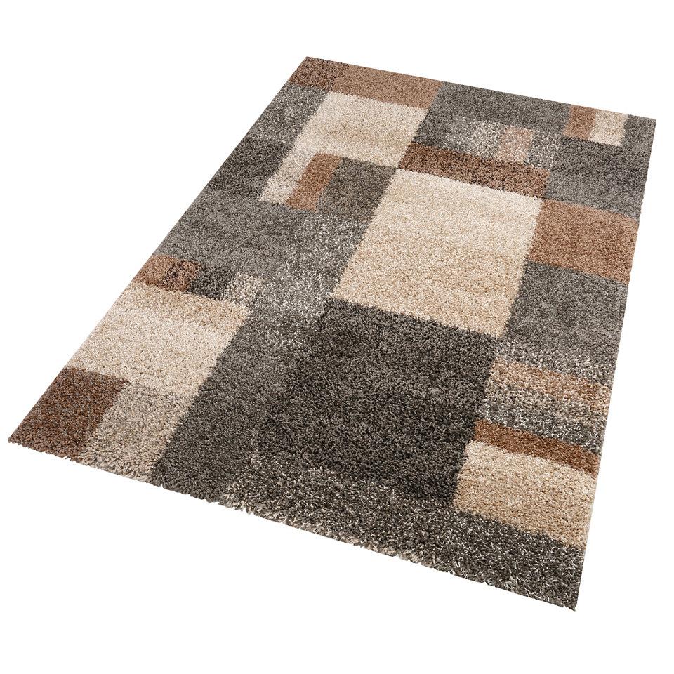Hochflor-Teppich, my home, »Andria Karo«, Höhe ca. 50mm, gewebt