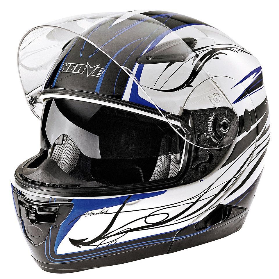 Klapp-Motorradhelm �NH 5008� in wei�-blau