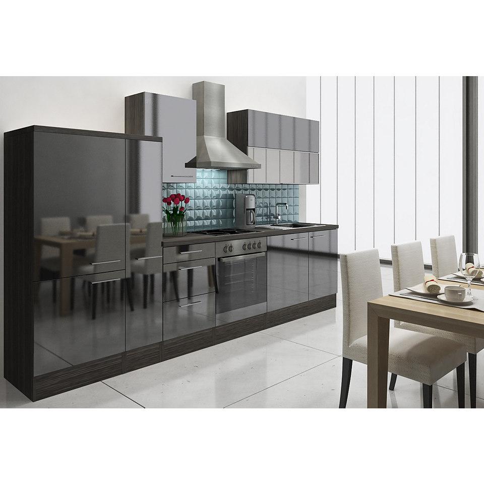Küchenzeile »Lea«, Breite 310 cm, Korpus Eiche - Grau Dekor, Set 2