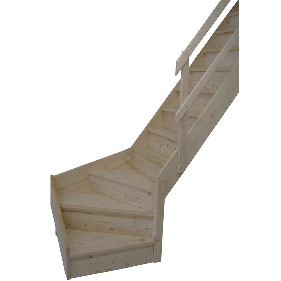 Massivholz Wangentreppe »Korfu«, ¼ gewendelt, mit Setzstufen & Holzgeländer