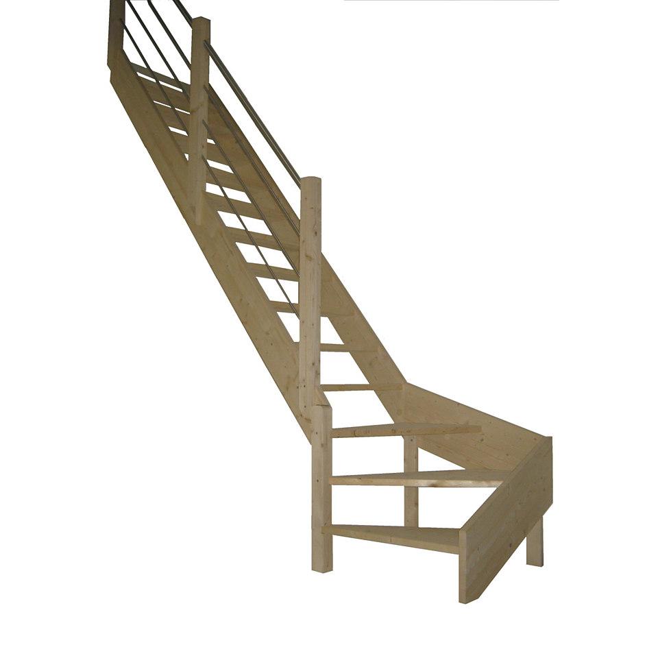 Massivholz-Wangentreppe »Rhodos«, ¼ gewendelt, mit Metall-Holzgeländer