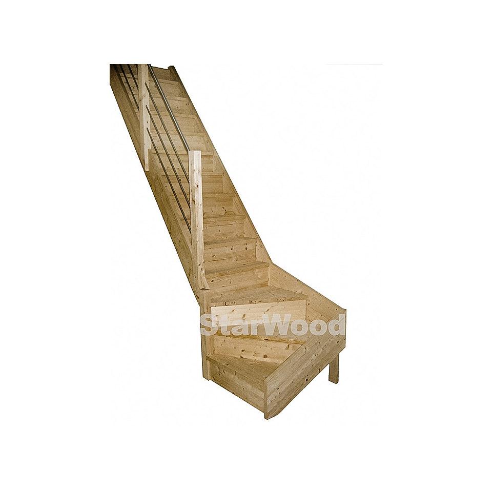 Massivholz-Wangentreppe »Rhodos«, ¼ gewendelt, mit Setzstufen & Metall-Holzgeländer