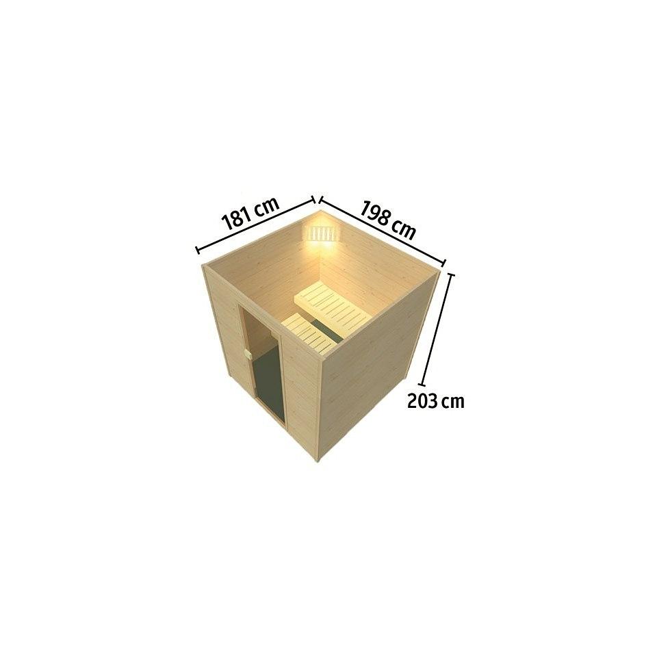 Massivholzfrontsauna »Lulea 2 Trend Plus«, 45 mm Wandstärke