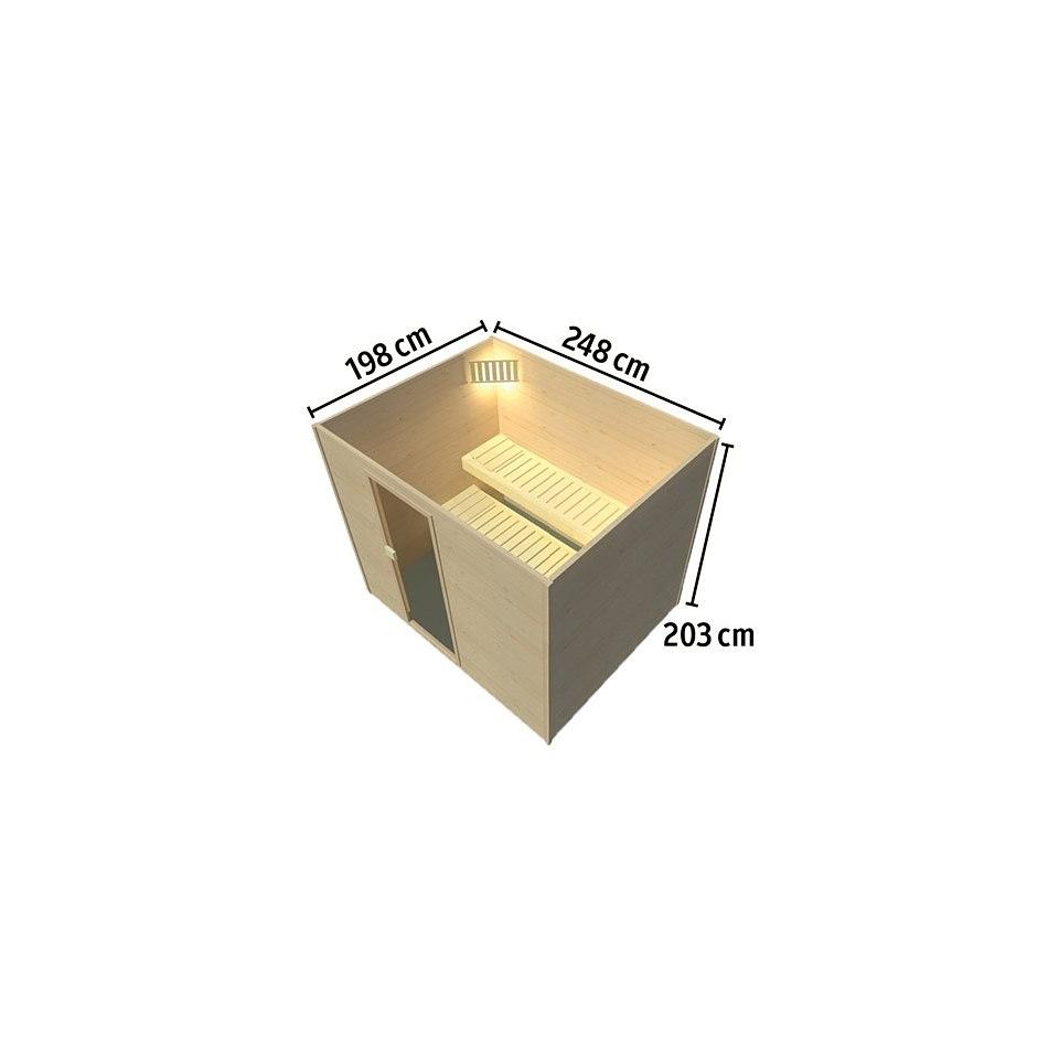 Massivholzfrontsauna »Lulea 4 Trend Plus«, 45 mm Wandstärke