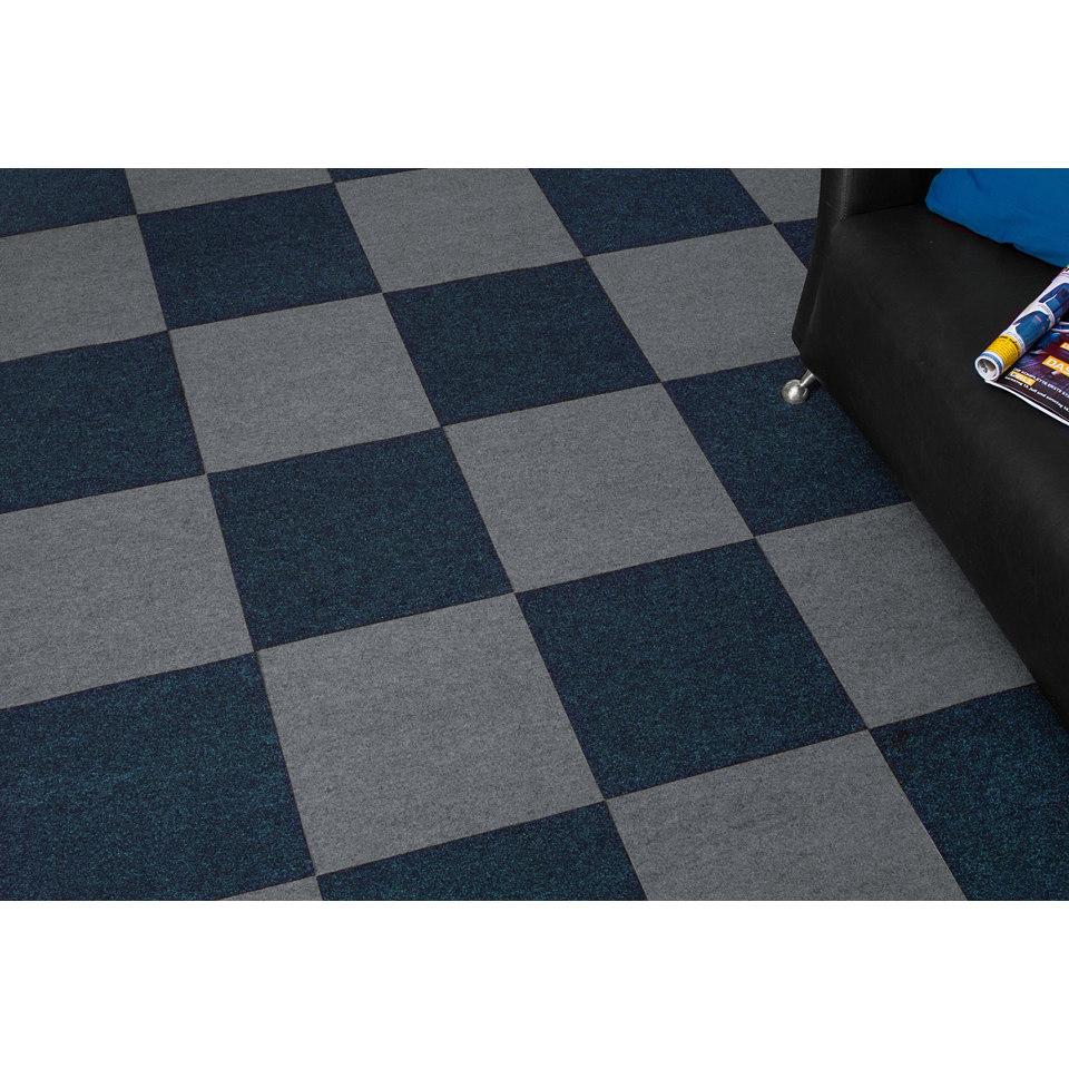 Nadelfilz Teppichfliesen 4 m², blau
