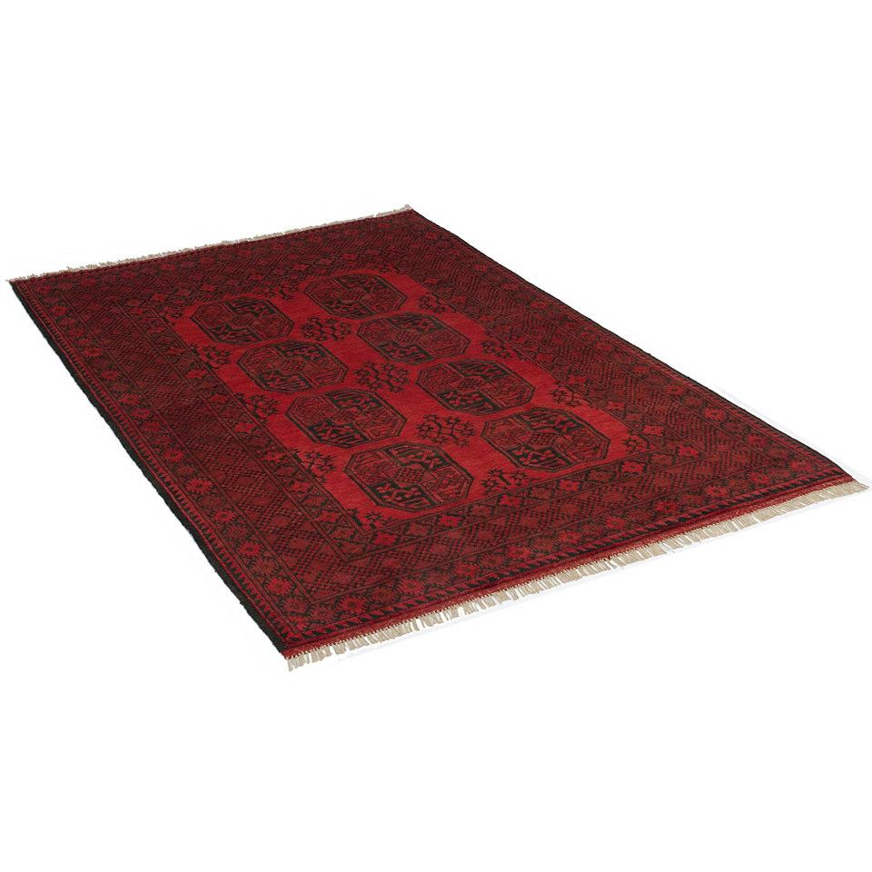 Orient-Teppich, Parwis, »Afghan Aktsche«, 90 000 Knoten/m², handgeknüpft, reine Schurwolle