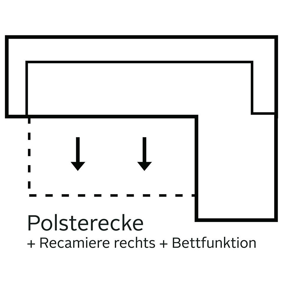 Polsterecke mit Recamiere, Cotta, wahlweise mit Bettfunktion