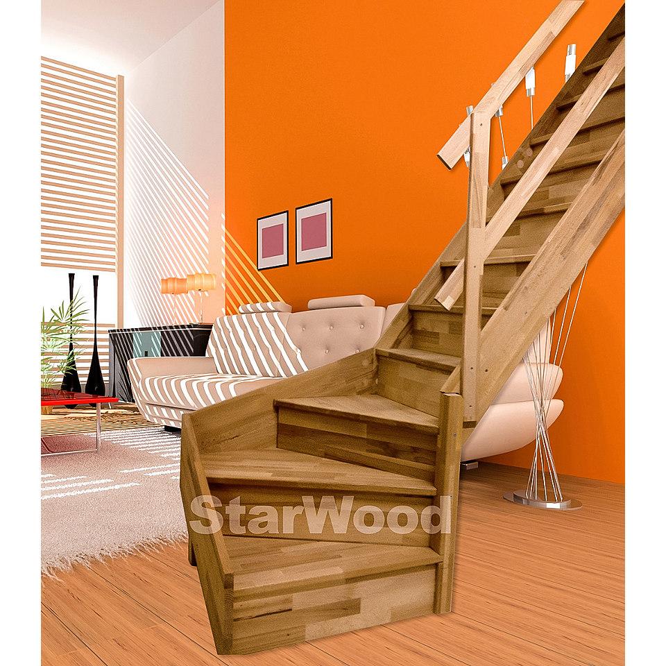 Raumspartreppe »Korfu« in buche, mit Holzgeländer, ¼-gewendelt mit Setzstufen