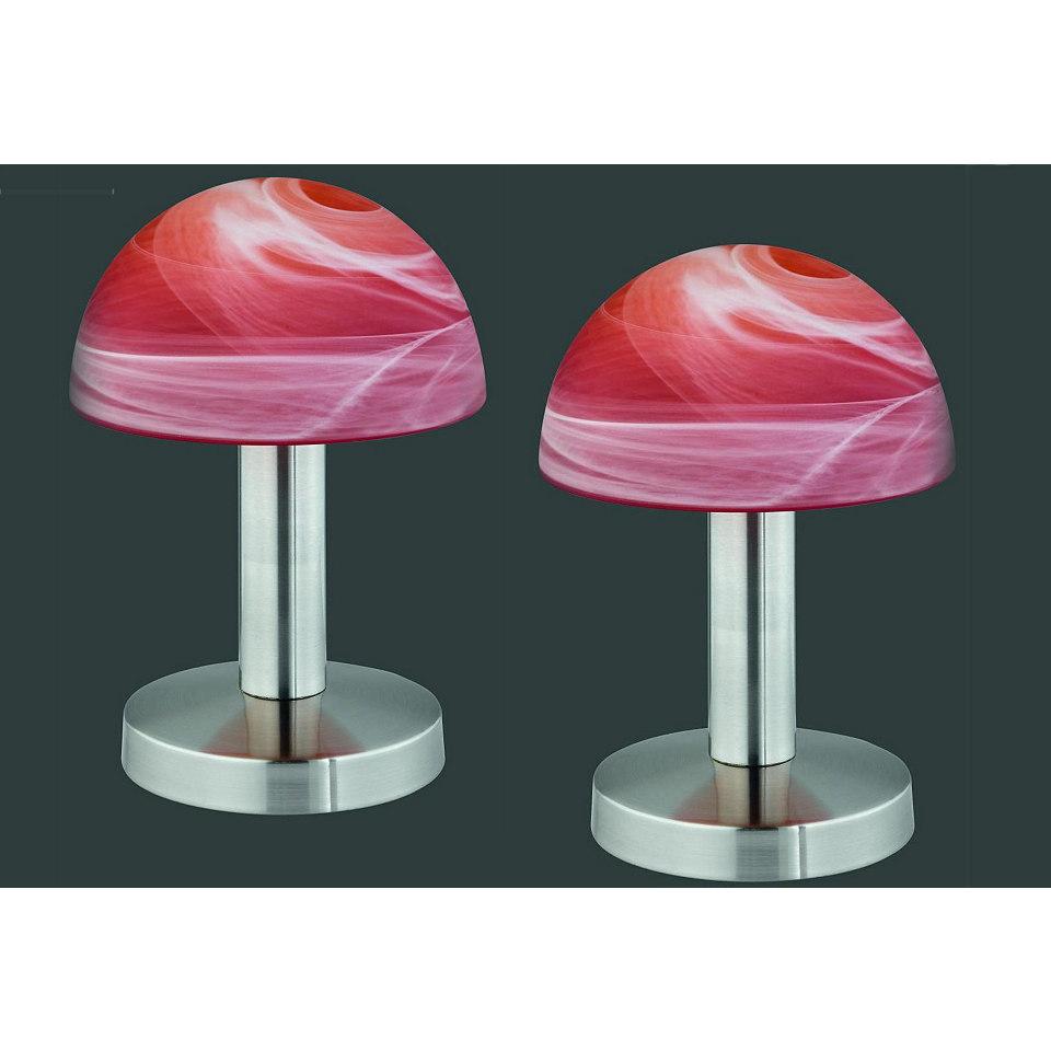 SET: Tischlampen-Set, 2 St�ck, nickelfarben-rot/orange, Trio