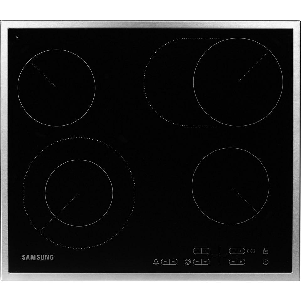 Samsung C61RCAST2/XEG Glaskeramik-Kochfeld, 60cm, 1 Zweikreis-Kochzone, 1 Bräter, Edelstahlrahmen