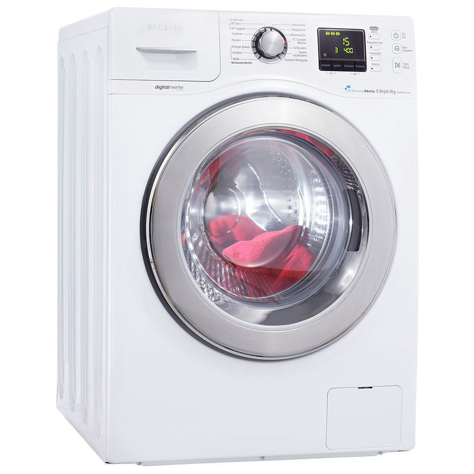 Samsung Waschtrockner WD906P4SAWQ/EG, A, 9 kg / 6 kg, 1400 U/Min