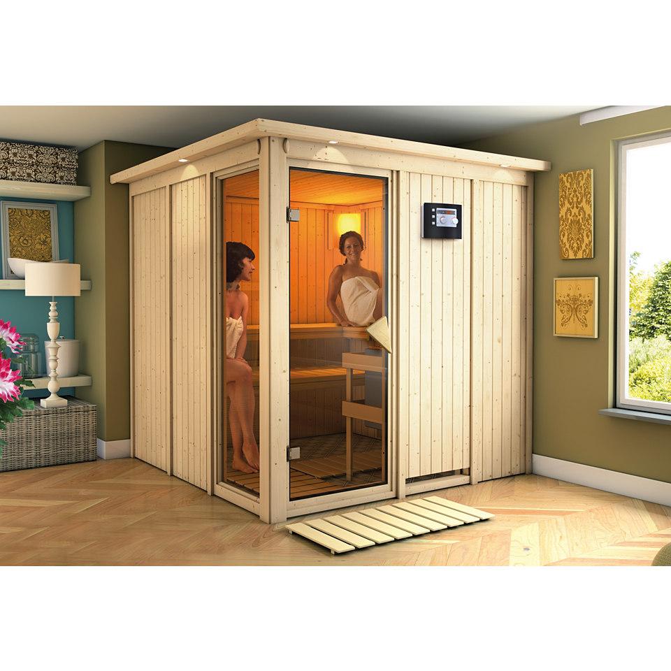 Sauna »Helin« mit Fronteinstieg, 68 mm Wandstärke