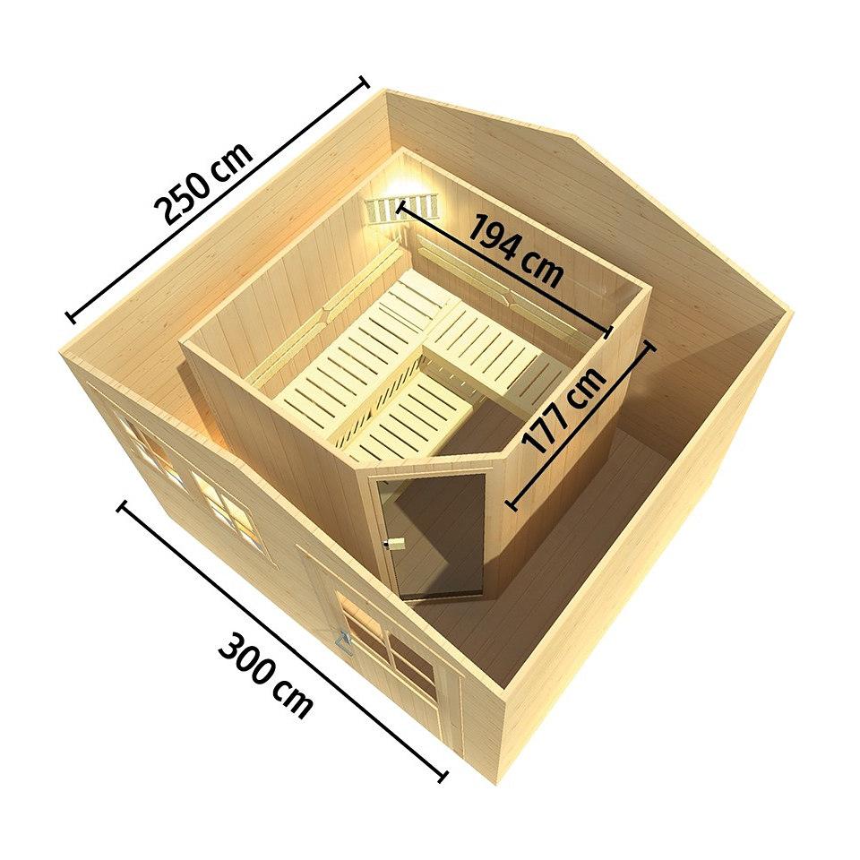 Saunahaus »Mikkeli 3« (Fronteinstieg), Saunaofen-Set OS, 28 mm Wandstärke