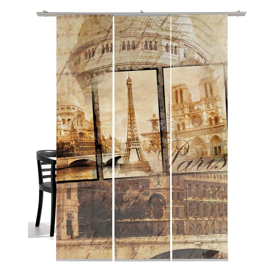 Schiebevorhang, Emotiontextiles, �Alt Paris Sepia� (3 St�ck mit Zubeh�r)