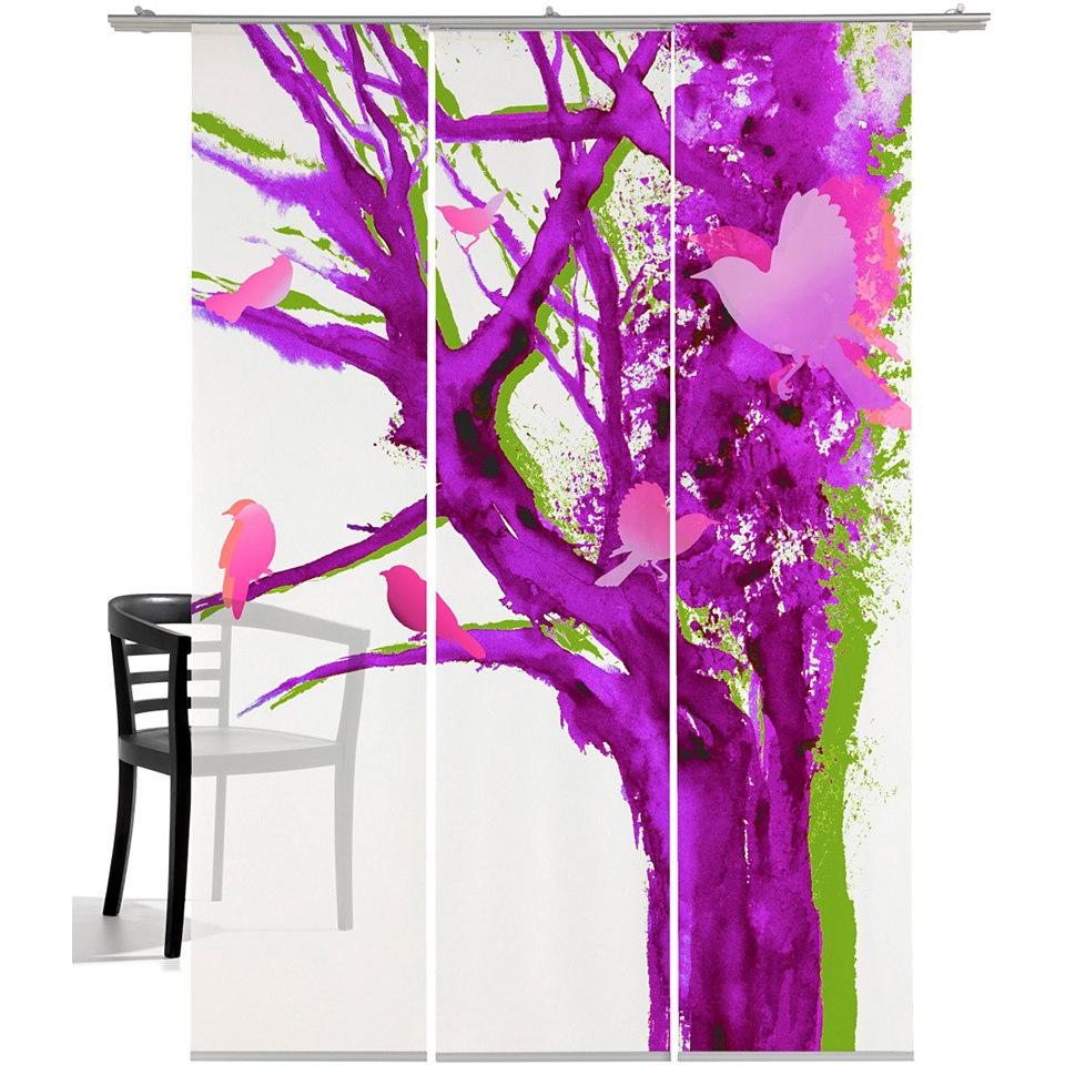 Schiebevorhang, Emotiontextiles, �Baum der V�gel� (3 St�ck mit Zubeh�r)