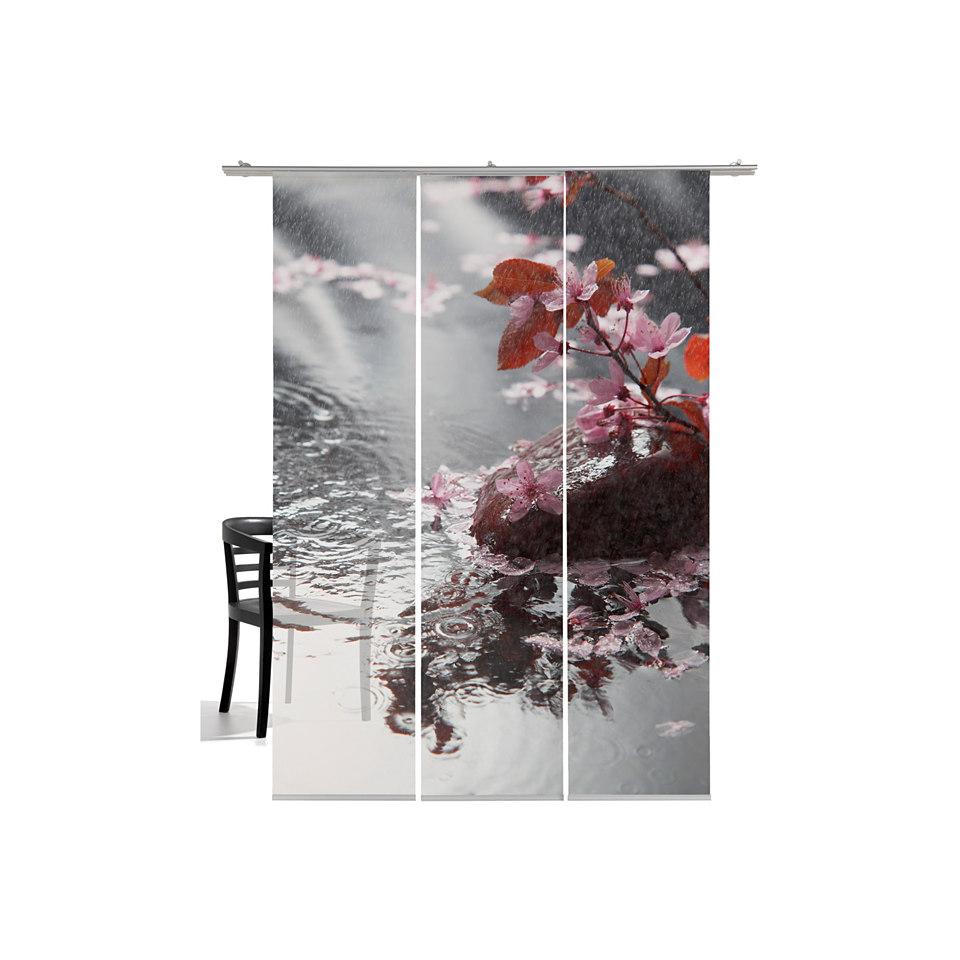 Schiebevorhang, Emotiontextiles, »Blütenregen« (3 Stück mit Zubehör)