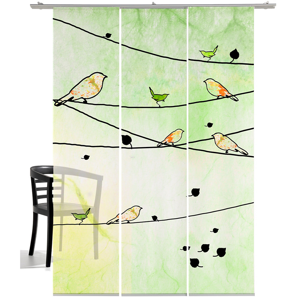 Schiebevorhang, Emotiontextiles, �Crazy Birds� (3-tlg. incl. Technik)