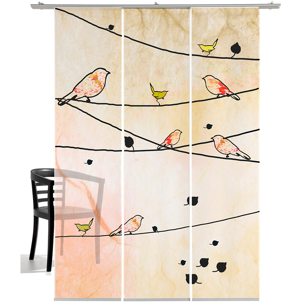 Schiebevorhang, Emotiontextiles, »Crazy Birds« (3-tlg. incl. Technik)